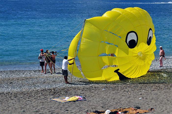 параглайдинг на пляже